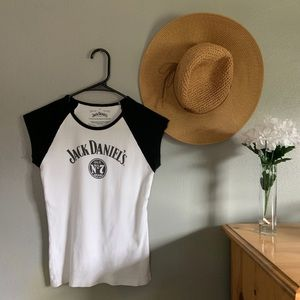 Tops - Jack Daniels White And Black Ringer T-shirt